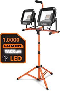 TACKLIFE 10000 Lumen Tripod LED Work Light with Two-Head Total 100W Work Lights, Metal Telescopic Tripod Stand, Rotating Waterproof Lamps and 16.5 Ft AC Power Cord