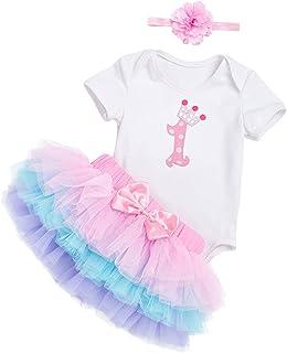 Distinguished Elegant Birthday Girl Baby Princess Dress Outfit Romper Tutu Skirt Headband 3pcs Set - Heart, 1-2T,Size Nam...