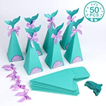 Aytai 50pcs Mermaid Party Boxes Mermaid Gift Bags Box with Thank You Stickers for Kids Mermaid Party Supplies, Baby Shower Birthday Decorations (Turquoise)