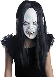 LUOEM Halloween Horror Grimace Ghost Mask Long Wig Hair Grudge Sadako Ghost Wig Creepy Scary Costume Mask for Halloween Party Supply