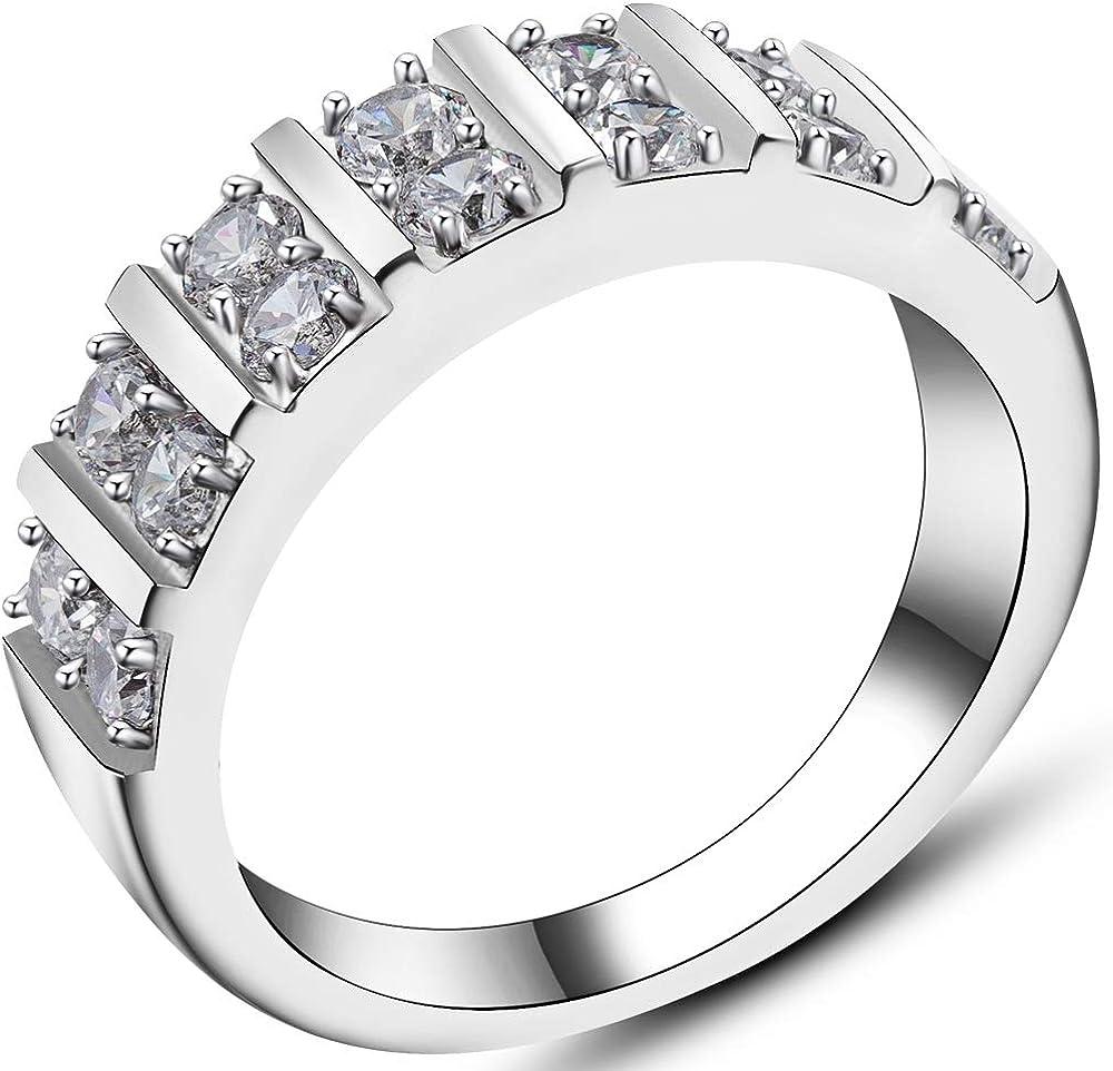 Jude Jewelers Stainless Steel Cubic Zircon Eternity Wedding Engaegment Band Ring