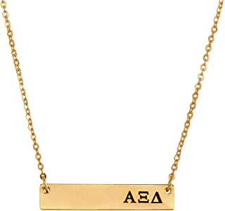 Alpha Xi Delta 24K Gold Plated Horizontal Bar Necklace Greek Sorority Letter Adjustable Chain Alpha zee
