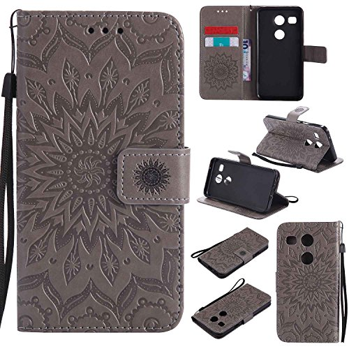 pinlu® PU Leder Tasche Etui Schutzhülle für LG Nexus 5X (5,2 Zoll) Lederhülle Schale Flip Cover Tasche mit Standfunktion Sonnenblume Muster Hülle (Grau)