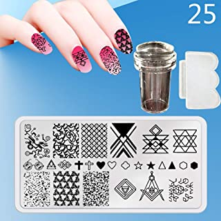 Zmond - New 12X6cm 44 Style Nail Stamping Plates Set Made Stencils Lace Flower DIY Nail Art Templates+Transparent Stamper Stamp Scraper [ 25 ]