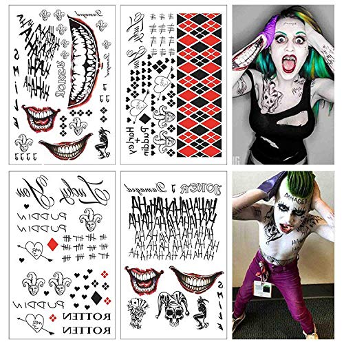 4 Large Sheets SS Temporäre Tattoo-HQ & The Joker Sticker 80 + Zats Costume/Cosplay Party Accessoires