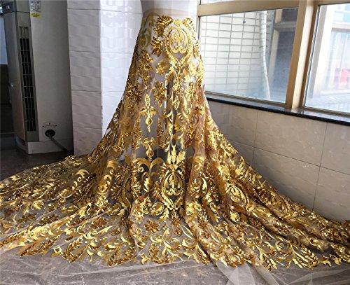 12 opciones de color bordado nupcial tela de encaje de 59 pulgadas de ancho con cuentas florales para boda, tela de encaje de 1 yarda dorado