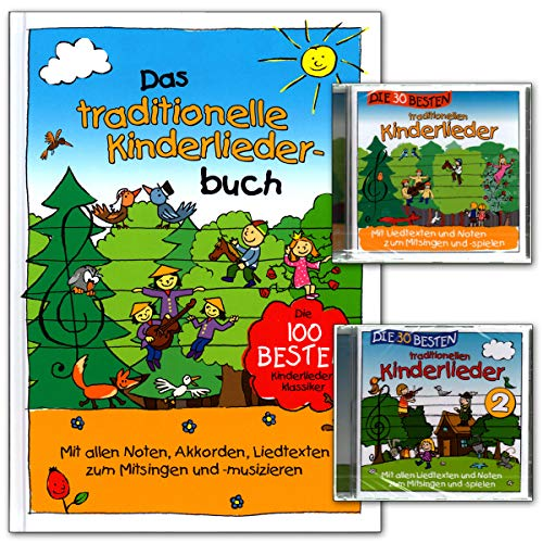 Das traditionelle Kinderliederbuch - die 100 besten Kinderlieder-Klassiker. Mit allen Noten, Akkorden, Liedtexten zum Mitsingen und Musizieren mit 2 CDs - 9783981540864
