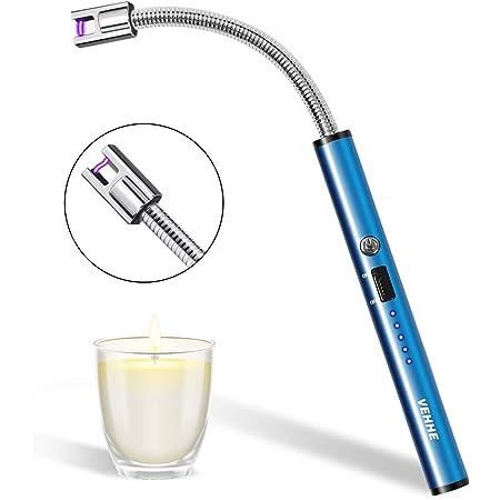 VEHHE Encendedor Cocina mechero Largo, Encendedor Cocina Arco Eléctricos, con USB Chargable y Pantalla LED de batería Cuello Flexible Encendedor ...