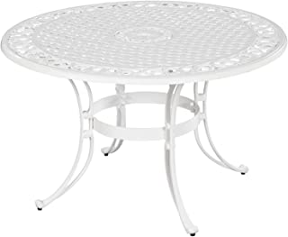 Home Styles 5552-30 Biscayne Round Outdoor Dining Table, White Finish, 42-Inch
