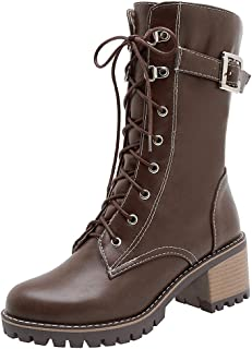 RizaBina Women Round Toe Military Lace up Combat Boots