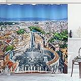 Alvaradod Europäischer Duschvorhang,Petersplatz in Rom Italienisches Mittelmeer Europa Citscape Urban Print,Stoff Stoff Badezimmer Dekor Set mit,Blaugrau mit 12 Kunststoffhaken 180x180cm