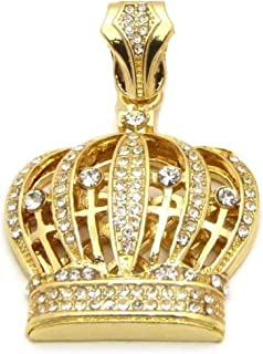 Mens Hip Hop Iced Out King Crown Pendant Box Cuban Rope Chain Necklace