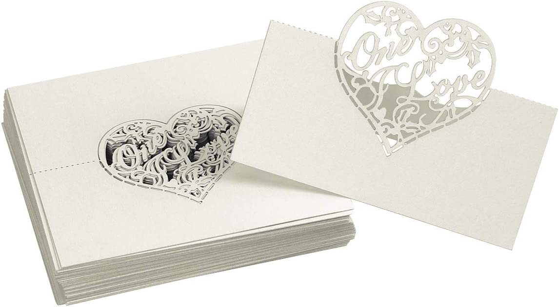 NUOBESTY 50pcs Heart Max 72% OFF Place Opening large release sale Cards Holl Table Seating Numbers Card
