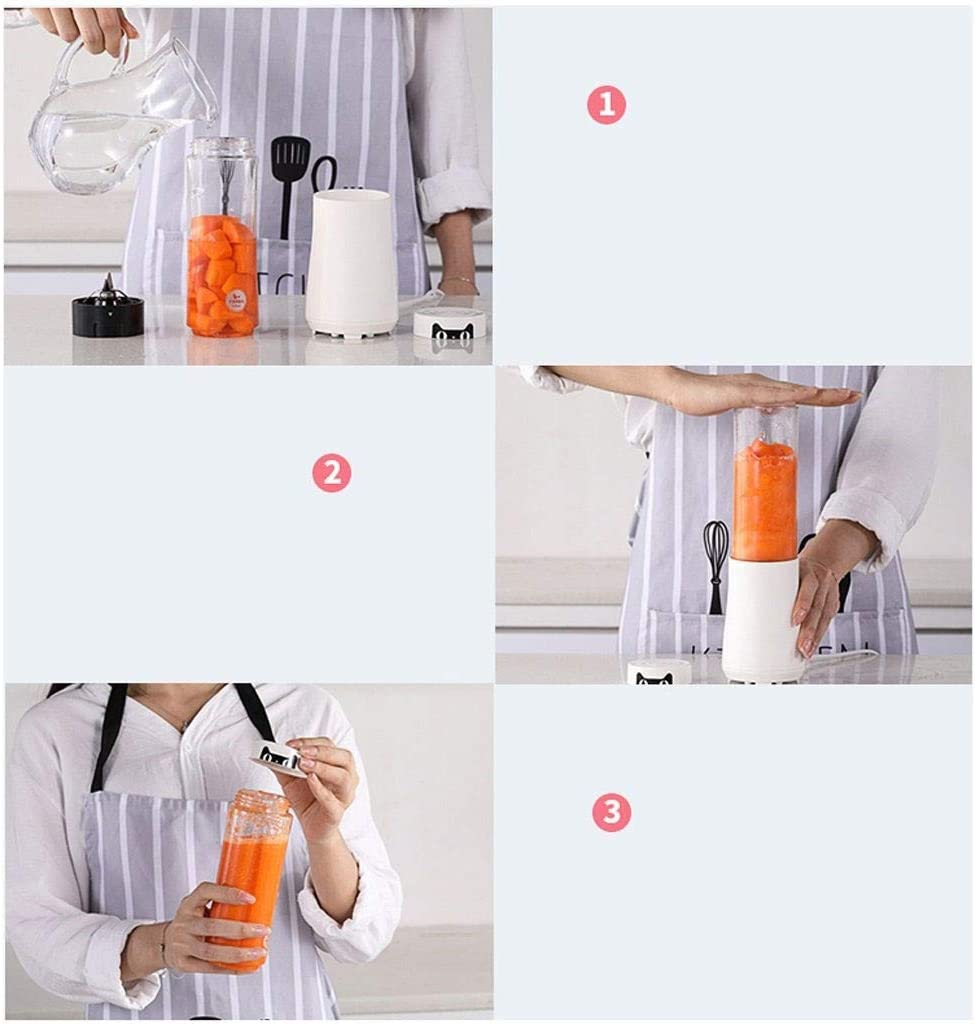 ECSWP Mini mélangeur, tasse de presse-agrumes électrique portable Personal Blender Smoothie Maker Extracteur de jus de fruits rechargeable USB avec mélangeur avec (Color : B) A