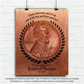 7 Year Anniversary Find a Penny Good Luck Personalized Faux Copper Gift of Tin 7th Anniversary Date Gift Custom Metal Plaque Wall Art 1467-8x10 Unframed Custom Paper Art Print