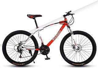 AP.DISHU 26 Inch Wheels Mountain Bike Double Disc Brake 27 Speed Unisex Bicycle Front Suspension MTB Spoke Wheel,Red