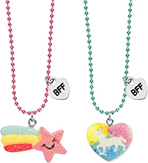 SkyWiseWin BFF Necklace for Kids - 2 Packs Best Friend Necklace Set for Childrens Girls (BFF Necklace 2)