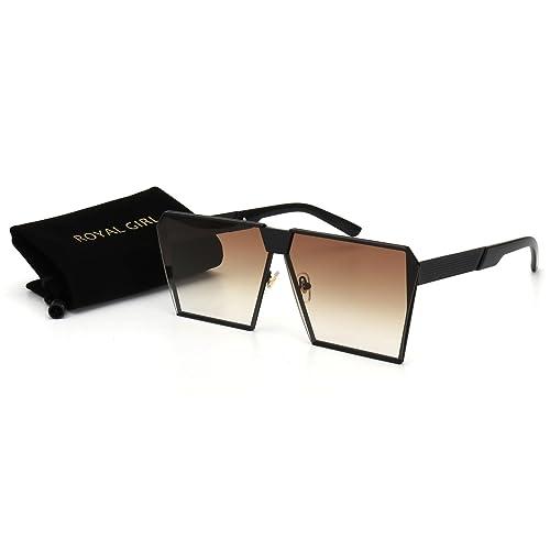 4c7983da0066 ROYAL GIRL Oversized Flat Top Sunglasses For Women Retro Square Metal Frame  Glasses