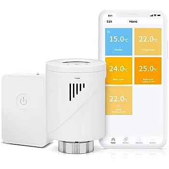 meross Smart WLAN Heizkörperthermostat LCD-Anzeige Intelligenter Programmierbar Heizungsthermostat für Einzelne Räume, Kompatibel mit Alexa, Google Assistant und IFTTT, Hub enthalten MTS100H, weiß
