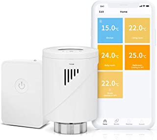 Válvula Termostática Wi-Fi Inteligente Meross, Termostato de Calefacción, con Pantalla LCD, Compatible con Alexa, Google Assistant e IFTTT, con hub, MTS100H. (M30*1,5MM).