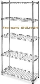Koonlert@shop Durable Constructed 5-Tier Steel Shelving Storage Organizer Adjustable Commercial Grade Wire Shelf - Chrome Finish #1165