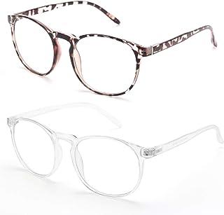 IBOANN Blue Light Blocking Glasses, 2-Pack Computer Glasses For Women Men, Round Gamer Gaming Anti Eye Strain UV Ray Blocker