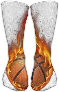 Bigtige, Calcetines de compresión clásicos Baloncesto de fuego Blanco Calcetines deportivos deportivos personalizados de 50cm de largo para hombres Mujeres