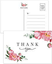 50 Floral Thank You Postcards, Thank You Cards for Wedding, Bridal Shower,Baby Shower, Birthday, Business, Blank Postcards, 4x6 Inches.