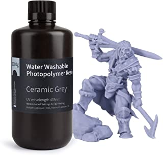 ELEGOO Water Washable 3D Printer Rapid Resin LCD UV-Curing Resin 405nm Standard Photopolymer Resin for LCD 3D Printing 1000Gram Ceramic Grey