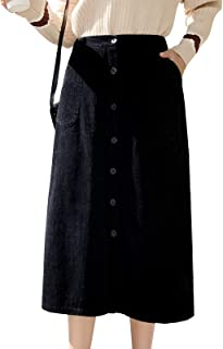 Women's Casual Elastic Wasit Corduroy A Line Long Midi Skirt with Pockets