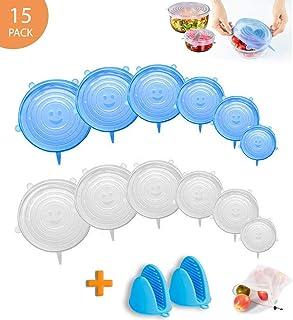 Tapas de silicona extensibles, 14 unidades, tapas reutilizables, elásticas dim de hasta 30 cm, ecológicas, tapas de silicona elástica, apta para varios contenedores, 2 guantes para horno de regalo