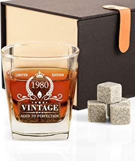 40th Birthday Gifts for Men, Vintage 1980 Whiskey Glass and Stones Funny 40 Birthday Gift for Dad, Husband, Brother, Son, ...
