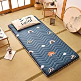 Tatami Mattress, JapaneseMattressTopper SoftFeather Cotton Foldable Roll Up Floor Futon Mat Sleeping Pad