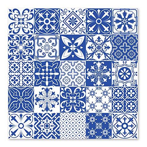 25 pegatinas de azulejos de estilo mediterráneo impermeable Splashback extraíble adhesivo de pared para accesorios de decoración de baño de cocina (8 x 8 x 20 x 20 cm)
