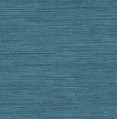 Sea Grass Blue Faux Grasscloth Wallpaper