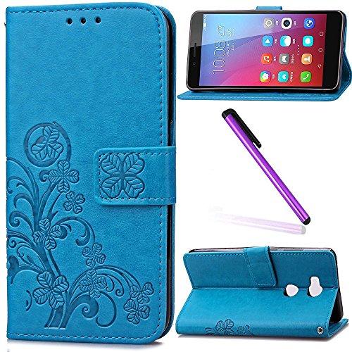 EMAXELERS Huawei Honor 5X Hülle Lucky Clover Muster Schutzhülle Schale Etui im Bookstyle Lederhülle Flip Kartenfächer Magnetverschluss und Standfunktion für Huawei Honor 5X,Sky Blue Clover