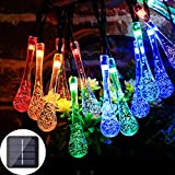 Solar String Lights, 21FT 30LED Water Drop Fairy String Lights, 8 Patterns, Outdoor Waterproof, Garden Patio Home Christmas Decoration (Multi-Color Water Drops)