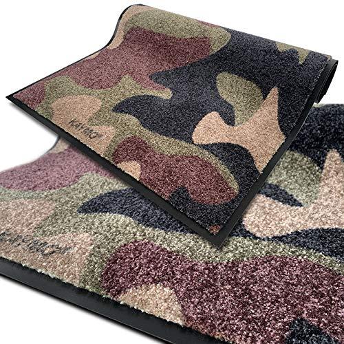 KAYMO SCHMUTZFANGMATTE 90 x 150 cm | Camouflage | Geniales Design/Limited Edition - waschbare FUßMATTE - Oeko-TEX 100 - Perfekter Camo-Style für Dein Home (Woodland Olive)