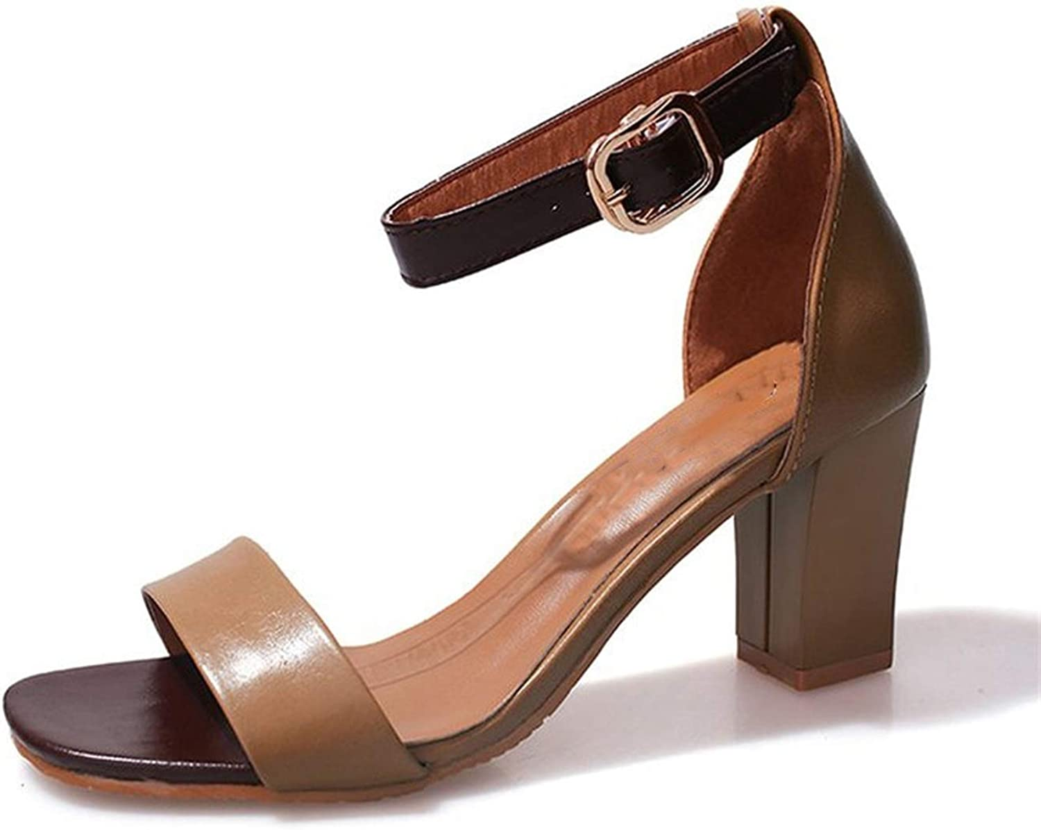 Strappy Chunky Block High Heel Wedding Party Simple Classic Pump Sandals Square Thick Heel