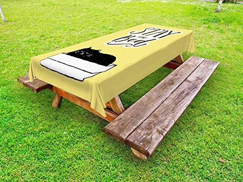 ABAKUHAUS Gezegde Tafelkleed voor Buitengebruik, Sleepy Black Cat in a Box, Decoratief Wasbaar Tafelkleed voor Picknicktafel, 58 x 120 cm, Mustard Zwart Wit