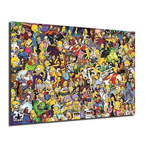 FireDeer Simpsons All Characters Cartoon Poster Anime Paintings On Canvas Modern Art Decorative Wall Pictures Home Decoration (No Framed,16x24inch)