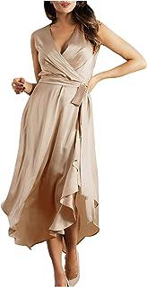 AFFGEQA Sommerkleid Damen Kleider V-Ausschnitt Ärmelloses Elegant High Waist Midi-Hemdkleid Lose Beiläufig Tunikakleid Knielang Strandkleid Schwarz Grün Khaki Abendkleid