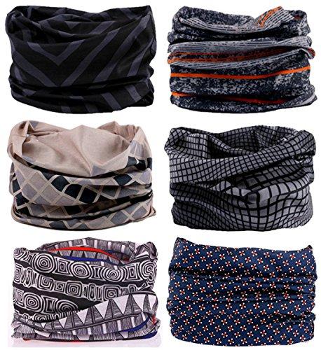 SmilerSmile 6pcs Assorted Seamless Outdoor Sport Bandanna Headwrap Scarf Wrap, 12 in 1 High Elastic Magic Headband & Collars Muffler Scarf Face Mask with UV Resistance, (Duke)