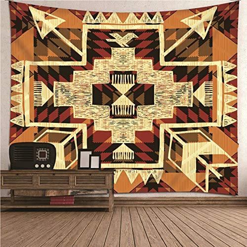 BATOHOME Tapiz Suelo Habitacion, Tapiz para Sillas Patrón De Geometría Vintage De Tema Tribal Tapiz Pared 3D, Papel Tapiz Paredes 3D 150x130CM