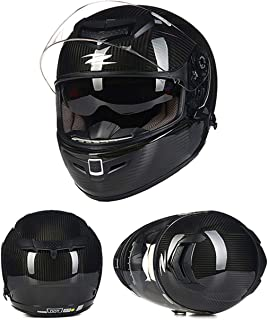 AA100 Full face Motorcycle Off-Road Carbon Fiber Helmet/DOT Certification/Suitable for Adult Men and Women Scooter ATV Motorcycle Racing Helmet Anti-Collision,M