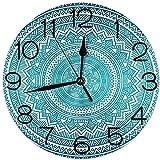 Bunkert Horloges Murales Rondes Turquoise Style Art Déco Formes comme Carrés Géométriques avec Lignes Image Rose et Turquoise Diamètre 9.8 '