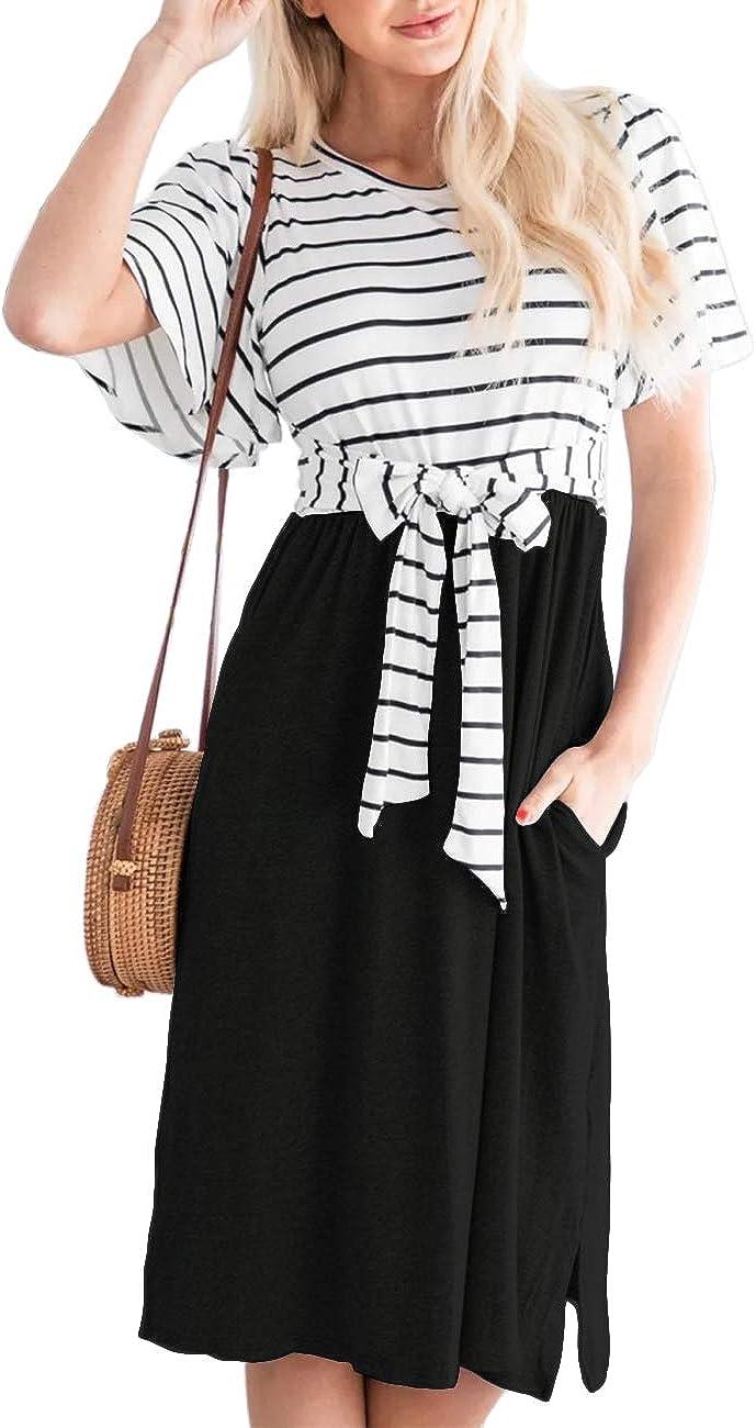 MEROKEETY Women's Summer Striped Ruffle Sleeves Tie Waist Casual Swing Midi Dress