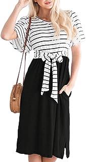 MEROKEETY Women`s Summer Striped Ruffle Sleeves Tie Waist Pockets Casual Swing Midi Dress