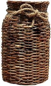 POPGRAT 12'' High Wood Cylinder Vase Flower Vase Nesting Basket Ideal Gift for Rustic Home Decor/Wedding/Special Occasion/Kitchen/Dired Floral Arrangement/Table Centerpieces Decorations