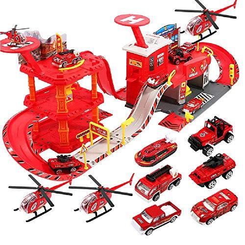 AOTE-D Enfants Puzzle Parking Lot de Police Poste D'ingénierie Bureau des Pompiers Voiture Avion d'anniversaire Cadeau Noël Cadeau Garçon Fille Jouet Camion Toys Vehicules Coffret Véhicule,Red